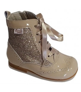 Glitter and patent boot camel