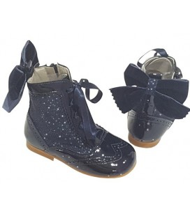 Gir's Patent Leather boots with Glitter navy 4956