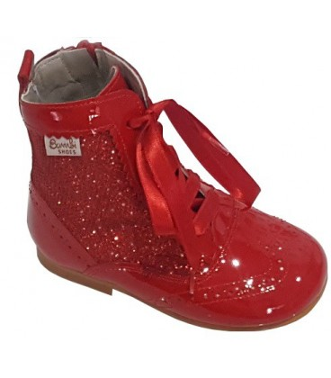 Glitter and patent boot red