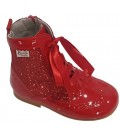 Girs Patent Leather boots with Glitter red 4956