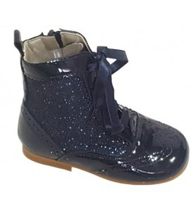 Girls Patent boots with Glitter navy 4956