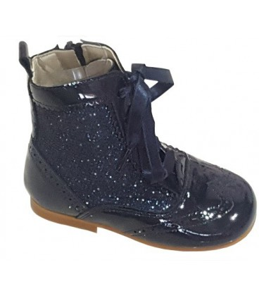 Glitter and patent boot navy