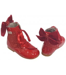 Gir's Patent Leather boots with glitter red 4956