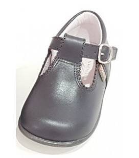 T- bar Boys shoes in leather dark grey 463