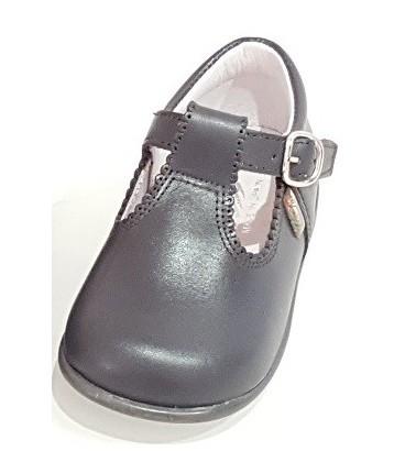463 Boy shoe in leather dark grey