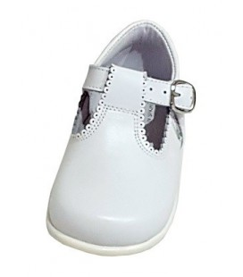 T-bar Boy shoes in leather white 463