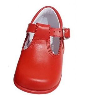 T- bar Boys shoes in leather red 463