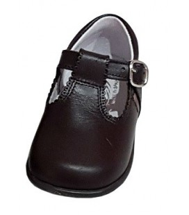 T-bar Boys shoes in leather brown 463