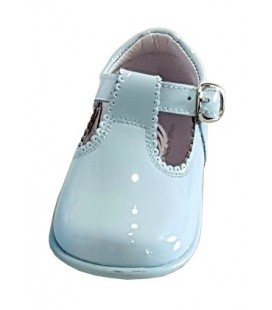 T-bar Boys shoes in patent blue