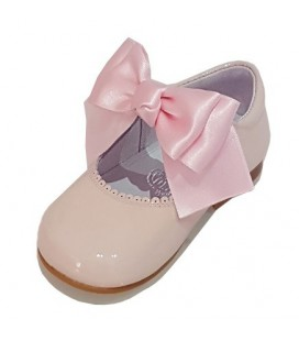 Mary Jane patent leather 4199 pink with Chantelle bow