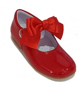 Mary Jane patent leather 4199 red with Chantelle bow
