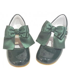 Mary Jane patent green double bow 4199
