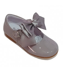 Mary Jane patent leather 4199 grey with Chantelle bow