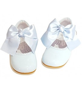 Mary Jane patent leather 4199 sky blue with Julieta bow