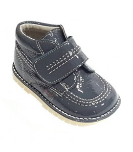 925 Kickers boys' boots grey patent leather