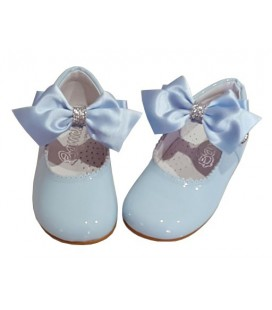 Mary Jane patent leather 4199 sky blue with Combi bow