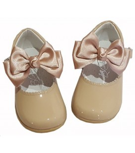 457 Girls shoes with bow camel
