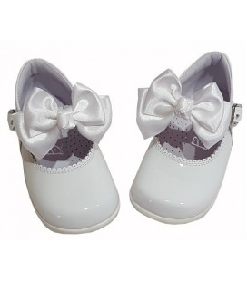 Girls shoes with bow white 457