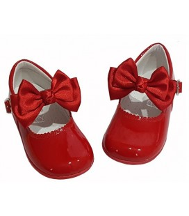 457 Girls shoes with bow red