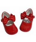 Girls shoes with bow red 457