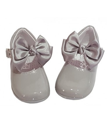 457 Girls shoes with bow grey