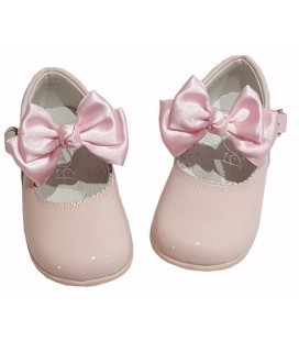 457 Girls shoes with bow pink