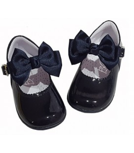 457 Girls shoes with bow navy