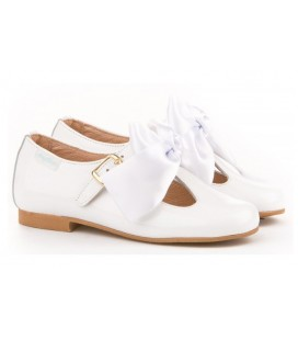 GIRLS SHOES BALLERINA PATENT ANGELITOS 516 white