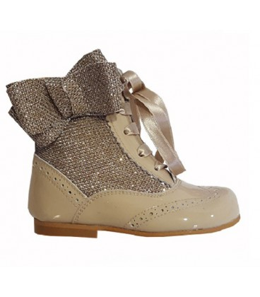 4956 Glitter boots with side bow camel