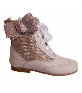 Glitter boots with side bow pink 4956