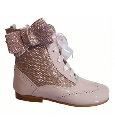 4956 Glitter boots with side bow pink