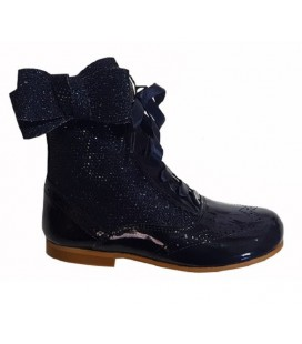 Glitter boots with side bow navy 4956