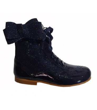 4956 Glitter boots with side bow navy