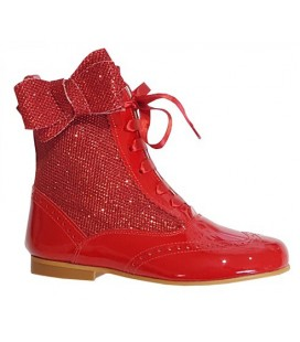 Glitter boots with side bow red 4956