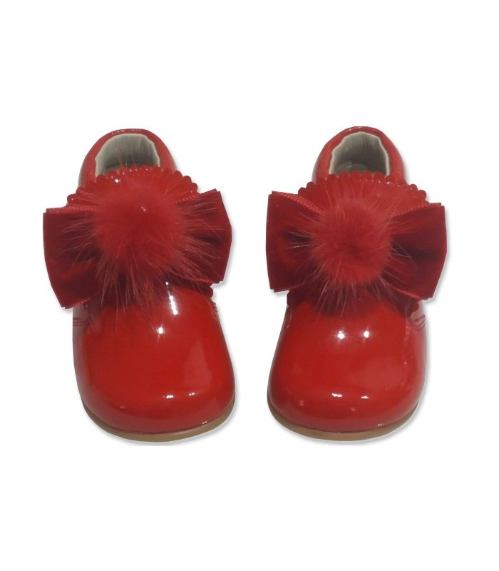 reputable site 12690 d38ac Patent Baby boots with pom pom 5161
