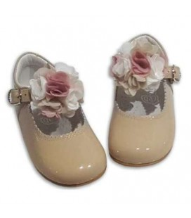 MARY JANES IN PATENT FLOWER TUL BAMBI 4199 CAMEL COMBI