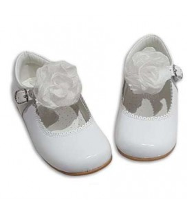 Mary Jane patent leather 4199 white with Tul bow
