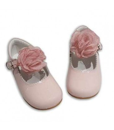 MARY JANES IN PATENT FLOWER TUL BAMBI 4199 PINK