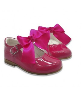 Mary Jane patent leather 4199 bright pink with Chantelle bow
