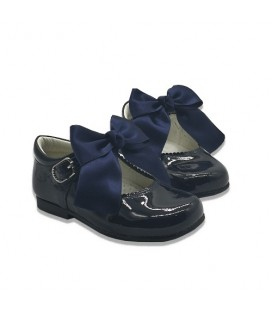 Mary Jane patent leather 4199 navy with Julieta bow