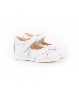 Leather Mary Jane Angelitos with velcro 614 white