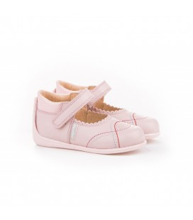 Leather Mary Jane Angelitos with velcro 614 pink